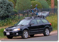 car with bikes on roof